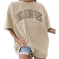 Oversize Tshirt Los Angeles a maniche corte casual con scollo rotondo in cotone, maniche corte, camicia con lettere…