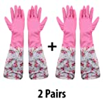 HOKIPO Reusable PVC Latex Kitchen Gloves, Long Elbow Length - For Summer, 2 Pair