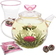 Teabloom Eternal Love Teekanne – 1000 ml Glas Teekanne, Deckel mit Herz, Glas Tee-Ei für losen Tee & 2 Blütentees - Wärmescho