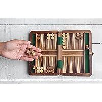 storeindya Wooden Magnetic Backgammon Set Classic Board Game Box Portable Travel Friendly Family Fun