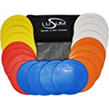 Lusum Set of 20 Full Sized Pro Non Slip Flat Rubber Round Sports Marker Discs