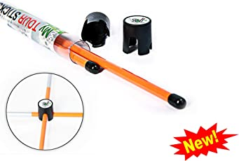 Golf Training Aids | New Improved Design Set of 2 Orange Golf Alignment Sticks. in Bonus 2 Connectors | Single Size 100 cm | an Essential Multifunctional Tool for Your Golf Practice Sessions