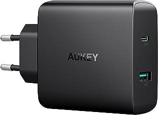 AUKEY USB C Ladegerät mit 56,5W Power Delivery 3.0 & 5V 2,1A USB Netzteil für MacBook/Pro, Nintendo Switch, Samsung Galaxy S8/S8+/Note8, Google Pixel, iPhone XS/iPhone XS Max/iPhone XR, iPad usw.
