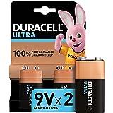 Duracell Ultra, lot de 2 piles alcalines Type 9V 1,5 Volts 6LR61 MX1604 idéal pour détecteur de fumée