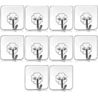 RYLAN 10Pcs Self Adhesive Wall Hooks, Heavy Duty Sticky Hooks for Hanging 10KG (Max), Waterproof Transparent Adhesive…