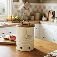 "Ellementry, Metal Onion Storage Bin with Wooden Lid, 5.5"" x 5.5"" x 9"", Off-White"