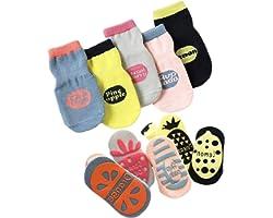 T WILKER 5 Pares de Calcetines Antideslizantes para Niños Pequeños, Bonitos Calcetines Antideslizantes con Estampado de Fruta