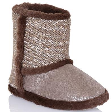 8b1d7ae527c Womens Ladies Slipper Boots Booties Faux Fur Plush Super Soft Cosy Warm  Fleece  Amazon.co.uk  Shoes   Bags