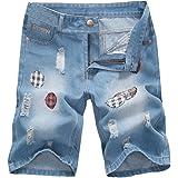 HZCX FASHION Men's Regular Fit Ripped Patchwork Lightweight Summer Denim Shorts