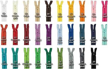 Jajasio 2 Stück Teilbarer Reißverschluss 50cm lang, Reissverschluss teilbar Auswahl aus 29 Farben