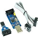 Paradisetronic.com Dispositivo de Programación USBasp 3.3V 5V con Adaptador ISP y Cable, Programador ISP USB para Atmel AVR y