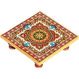 Handicrafts Paradise Intricate Floral Painted Marble Chowki (10.2 cm x 10.2 cm x 2.55 cm)
