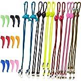SENHAI 12 Unids Correa de gafas para niños Y 6 pares Ganchos de silicona para la oreja, Ajustable Deportes Correas de gafas A