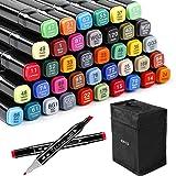 Zekkai Marker Pen Colores Rotuladores Graffiti 40 Colores Rotuladores de Doble Punta, Ideal para Niños, Adultos, Artistas, Bu