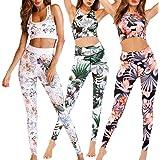 CiKiXZ Chándal Conjunto de Mujer Estampado Floral Deportivo Crop Top y Pantalones Elásticos para Gimnasio Pilates Yoga Fitnes