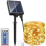 Guirlande Lumineuse Solaire Extérieure 30M 300 LEDs A Télécommande avec 8 Modes d'Éclairage, AUOPLUS Chaîne de Lumière Solair