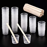 WXJ13 Lot de 50 Tasses Gobelet Plastique Transparent Gradué Échelle 30 ml Avec Lot de 50 En Bois Mélanger Btons pour…