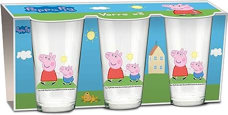 empireposter Glas-Set - Peppa Pig Familie Wutz - 237 ml - 3 Gläser Trinkglas Kinder Geschirr