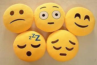 Nitsha Emoji Decoration Round Smile Pillow Pack-5