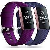 Faliogo 2-pack reservarmband kompatibel med Fitbit Charge 3 rem/Fitbit Charge 4 rem, mjuk sport klocka rem armband för kvinno