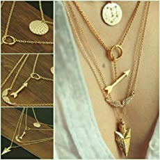 ITS Multilayer Irregular Crystal Gold Pendant Chain Statement Necklace for Women (Gold)