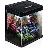 Nobleza - Nano-Fischtank Aquarium mit LED-Leuchten & Filtersystem, Tropische Aquarien, 7L/14L, Schwarz/Weiß