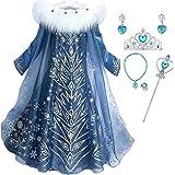 IWFREE Niñas Cosplay Vestido de Princesa Elsa con Capa Vestido de Manga Larga Vestido Largo Disfraz Azul Dulce Disfraz Ceremo
