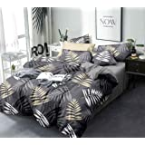 Magnetic Shadow King Size Bed Cotton Elastic Fitted Bedsheet with 2 Pillow Covers ( 240 X 260 cms , Grey Leaves ) (Grey)
