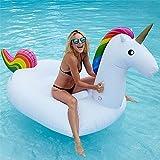 Pool Spielzeug Einhorn Aufblasbar, Pool Floß Schwimmen Float Halterungen, Riesen PVC Aufblasbarer Schwebebett Boot Erwachsene (200*100*90 cm)