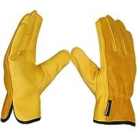 SAWANS Leather Working Gloves Work Gardening Gloves Thorn Proof Garden Building Heavy Duty Utility Gripper Men Women…