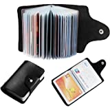 PANKU® Leather Credit Card Holder/Business Card Holder/ATM Card Holder for Women Men- 12 Slot Holds Upto 24 Cards (Black)