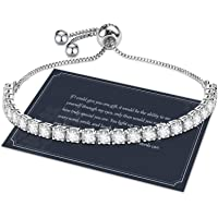 Bracelet for Women,Sterling Silver Tennis Bracelet S925 Crystal Slider Bracelet Sparkle Diamond Zircon Adjustable…
