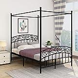 JURMERRY Cadre de lit double avec tête de lit et pied de lit décorés de style européen, en acier robuste, s'adapte parfaiteme