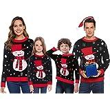 Abollria Suéter de Navidad,Jersey Navideño Sudaderas Navideñas Familiares Niño Niña Sueter Hombre Mujer Sweaters Estampadas P