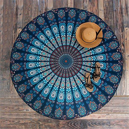 Strandtuch Rund Mandala Indian Mandala Wall Hanging Tapestry Elephant Wall Tapestry Picnic Beach Sheet Tagesdecke 147x147 cm - Très Chic Mailanda (Blau)