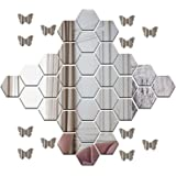 Wall1ders - 30 Hexagon & 10 Butterflies Silver (Each Hexagon Size 10.5 cm x 12.1 cm) 3D Hexagon Mirror Wall Stickers, 3D Mirr