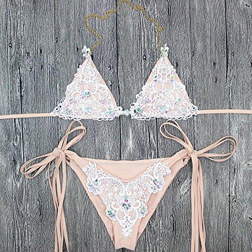 Pirate 2018 Sexy Häkeln Juwel String tie Seite Neckholder Bikini Zwei Stücke Badeanzug Badeanzüge und Badehosen, für Frauen Frauen Badeanzug Badegast K 542, M