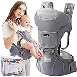 Upchase Ergonomische Babytrage Bauchtrage, Reine Baumwolle Vorderseite Rückseite Kindertrage, 6 in 1 Verstellbar Mit…