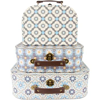 Merveilleux Set Of 3 Mediterranean Mosaic Suitcase Storage Boxes
