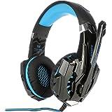 سماعة رأس للألعاب 3.5 ملم كل واحدة G9000 بخاصية الغاء الضوضاء مع ميكروفون إل إي دي، أسود وأزرق فاتح