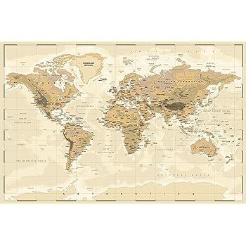 Poster Weltkarte antiker Stil 50 x 40 cm