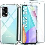 Leathlux Coque Compatible avec Samsung Galaxy A52 5G 4G Transparente avec 2 Verre trempé Protection écran, Souple Silicone Ét