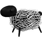 sheepi–Le Mouton Bureau Distributeur de trombones Magnétique–Noir avec Trombones blancs–La animale support pour trombon