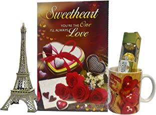 Saugat Traders Love Gift for Her - Love Greeting Card, 7Inch (18cm) Metal Paris Eiffel Tower Statue, Coffee Mug & Ferrero Rocher Chocolate