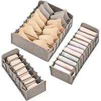 Queta 3 Pcs Organisateurs de Tiroirs Pliable Box Rangement pour Sous-Vêtements Organisateur Tiroir 3 Tailles pour Sous…