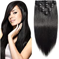 Elailite Extension Clip Capelli Veri 8 Fasce Piene a Punte Modello Migliorato - 100% Remy Human Hair Morbidi 25cm 70g #1…