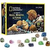 Confezione Regalo Rocks Storage, 24 Pezzi Regali di Natale per Bambini Collezione di Pietre preziose minerali Confezione…