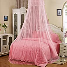 Pink : Decorative Round Lace Insect Bed Canopy Netting Curtain Dome Mesh Mosquito Net Princess Play Tent Bedding (Pink)