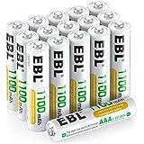 EBL AAA batteri 1100 mAh 16 stycken – typ NI-MH, 1,2 V uppladdningsbara batterier med batterilådor, Micro AAA-batterier