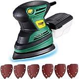 TECCPO Levigatrice Mouse 200W, 15500 RPM, 12 Carte Abrasive (6 di 60 Graniglie, 6 di 120 Graniglie), Contenitore per polvere,